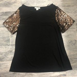 Cotton On Black T-shirt with Sequin Sleeves - M